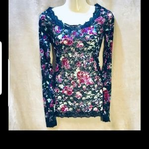 FREE PEOPLE NWT FLORAL SHEER TOP